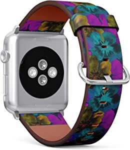 Compatible with Apple Watch (Big 42mm/44mm) Series 1,2,3,4 - Leather Band Bracelet Strap Wristband Replacement - Hawaiian Watercolor Ultraviolet Floral