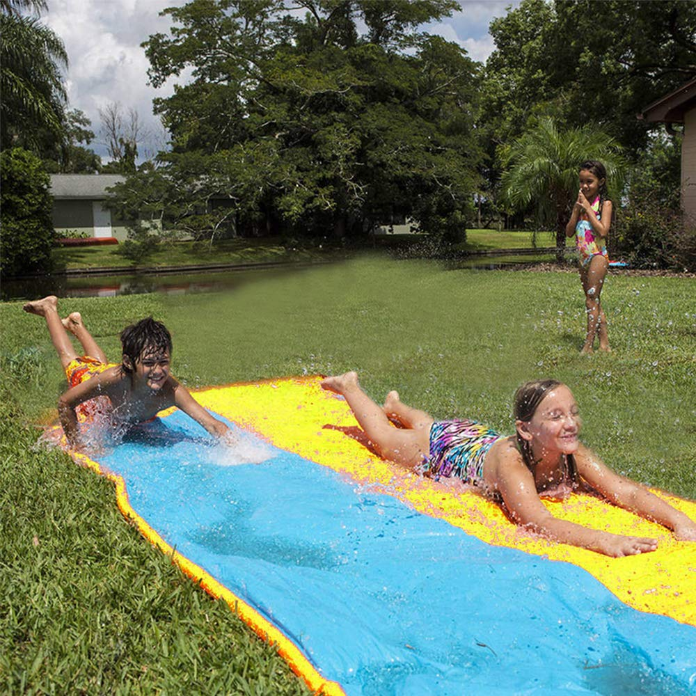 Giant Lawn Water Slide Inflatable 16ft Silp Slide Play Center Slide Water Spraying and Crash Pad For Kids Children Summer Backyard Swimming Pool Games Outdoor Toys with Bumper Double Slide by Wonderful Industry ltd