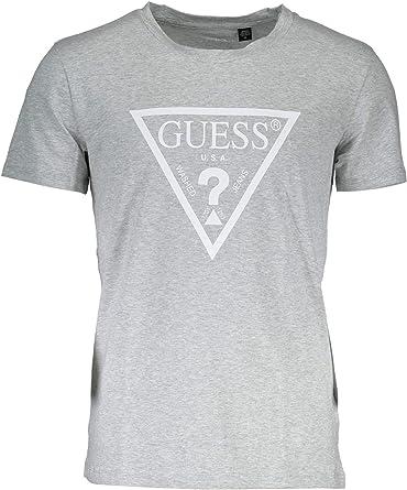 Guess - Camiseta de cuello redondo para hombre, color gris ...