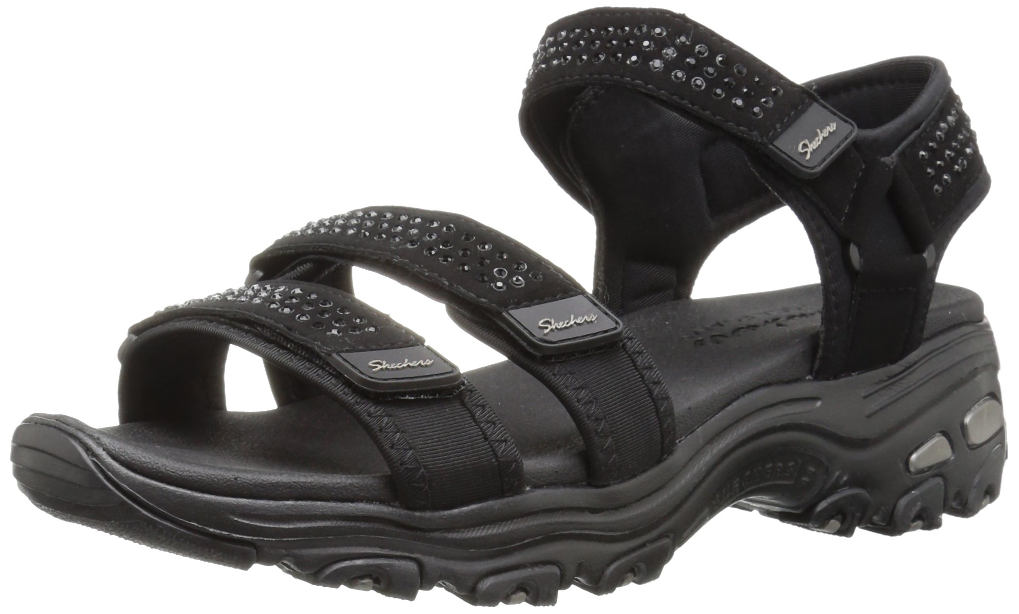 Skechers Women's D'Lites-Retro Glam-Rhinestone River Style Sporty Comfort Sport Sandal, Black/Black, 8 M US