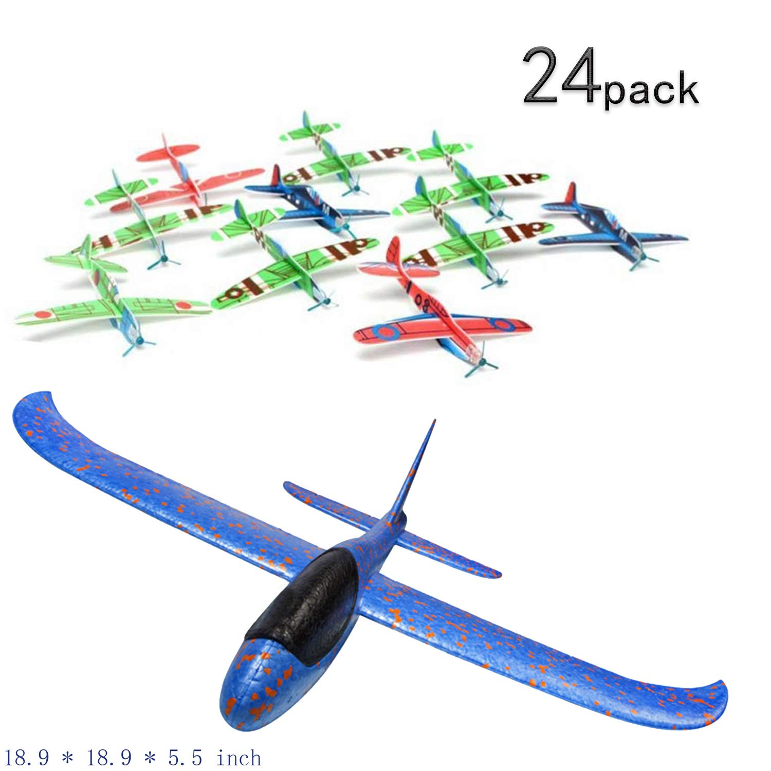 NaNa 24Pack Throwing Glider Inertia Plane ANAN Foam Aircraft Hand Launch Airplane Ourdoor Sports Toy