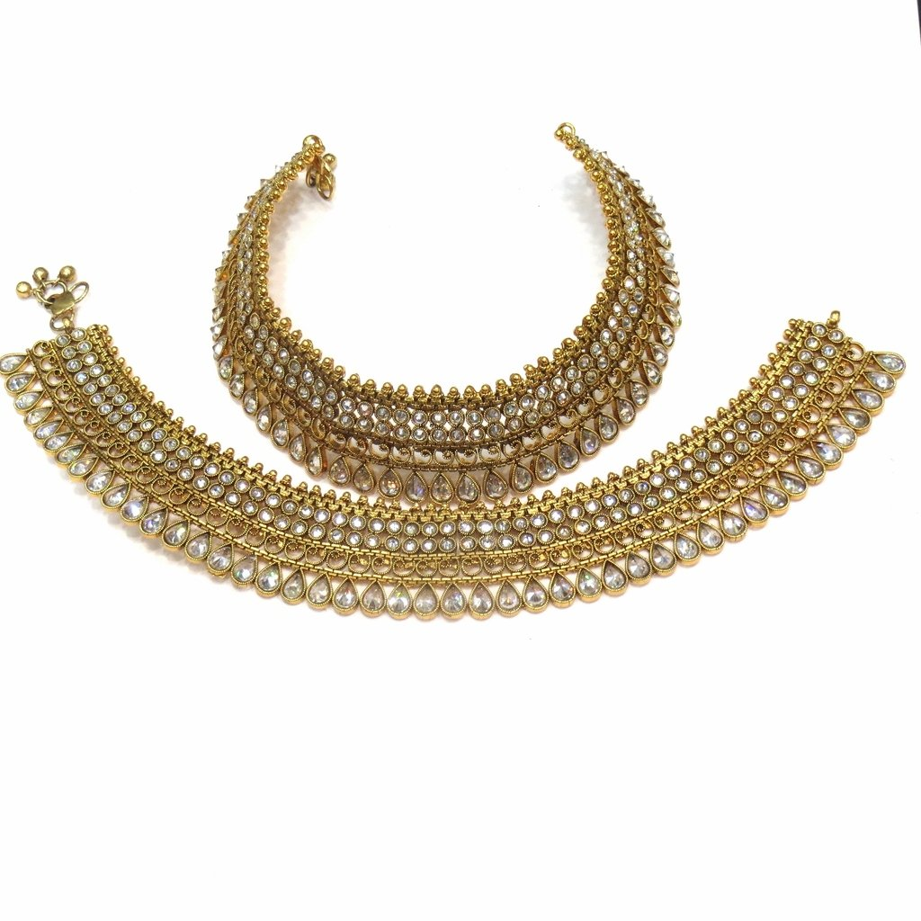 Jewelshingar Jewellery Polki / Kundan /Gold Plated Payal / Pajeb / Anklet For Women ( 14990-payal )