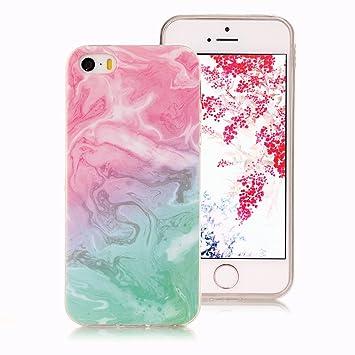 Funda Mármol para iPhone SE, iPhone 5S Case, Ronger Carcasa Gel TPU Silicona Marble Case Cover Funda Ultra Fino Flexible con Patrón de Piedra para ...