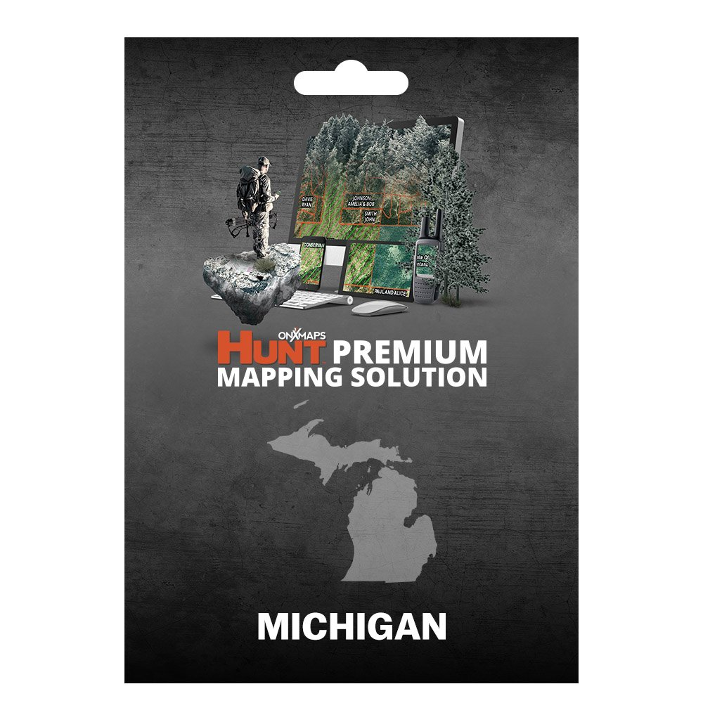 onXmaps HUNT Michigan: Digital Hunting Map For Garmin GPS + Premium Membership For Smartphone and Computer - Color Coded Land Ownership - 24k Topo - Hunting Specific Data