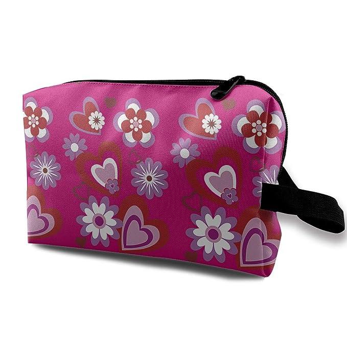 e48b2a22f5a7 Amazon.com: Heart Flower Decorative Valentine Day Toiletry Bag ...
