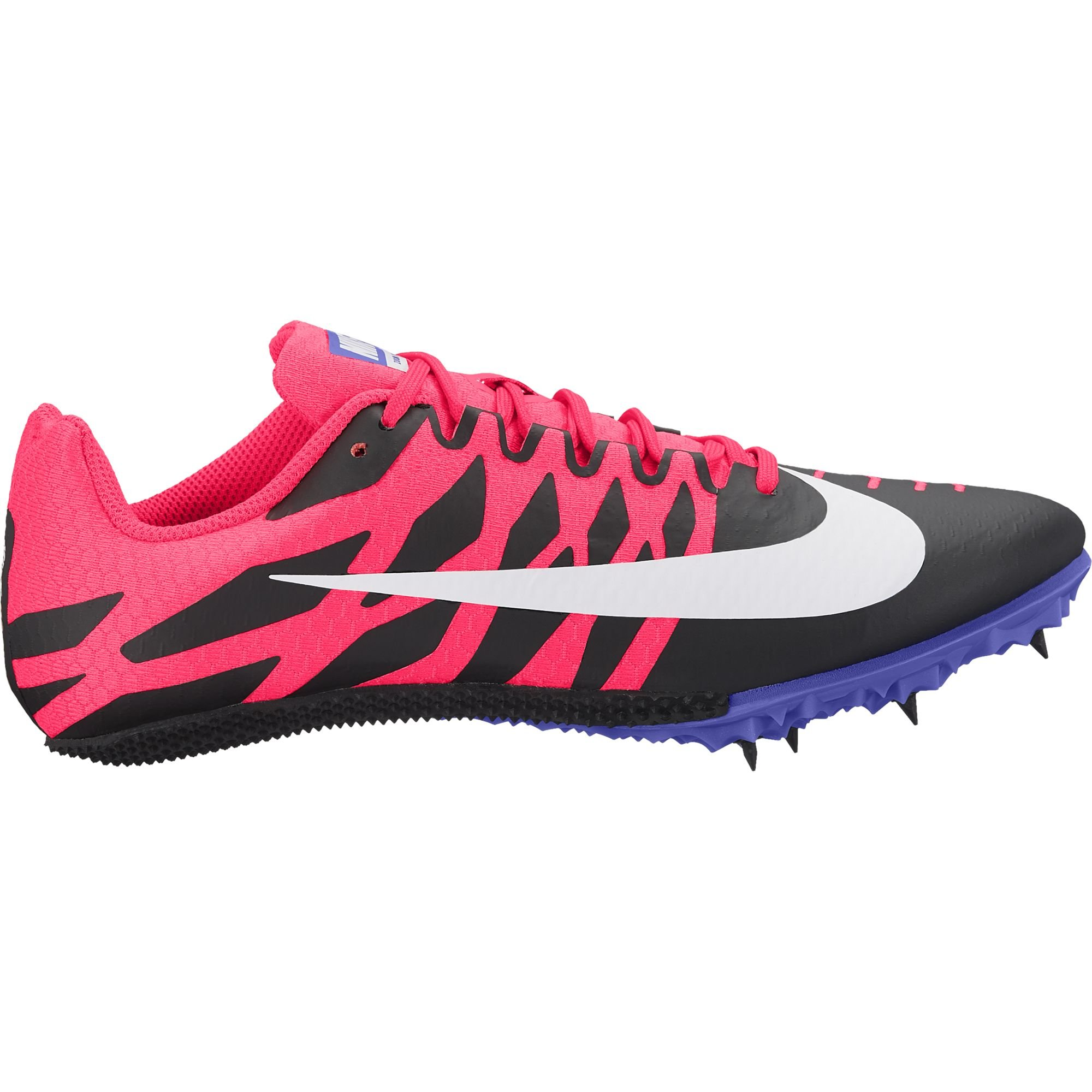 NIKE Women's Zoom Rival S 9 Track Spike Black/White/Solar Red/Persian Violet Size 7 M US