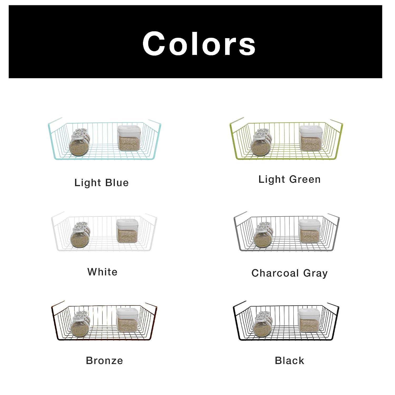 Pantry Smart Design Undershelf Storage Basket w//Snug Fit Arms Rust Resistant Finish Kitchen Cabinet Shelf Organization 12 x 5.5 Inch Small Bronze Steel Metal Frame