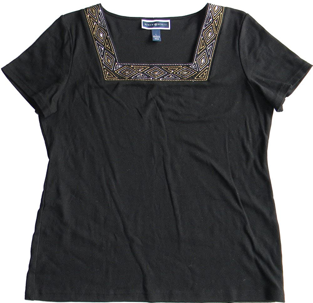a32dc24f72acf1 Karen Scott Size L Square Neck Embellished Tee Top Ebony Black at Amazon  Women s Clothing store
