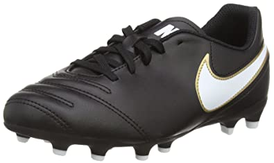 7ddeb6567 NIKE Youth JR Tiempo Rio III FG Black White Outdoor Soccer Cleats (3 Little  Kid