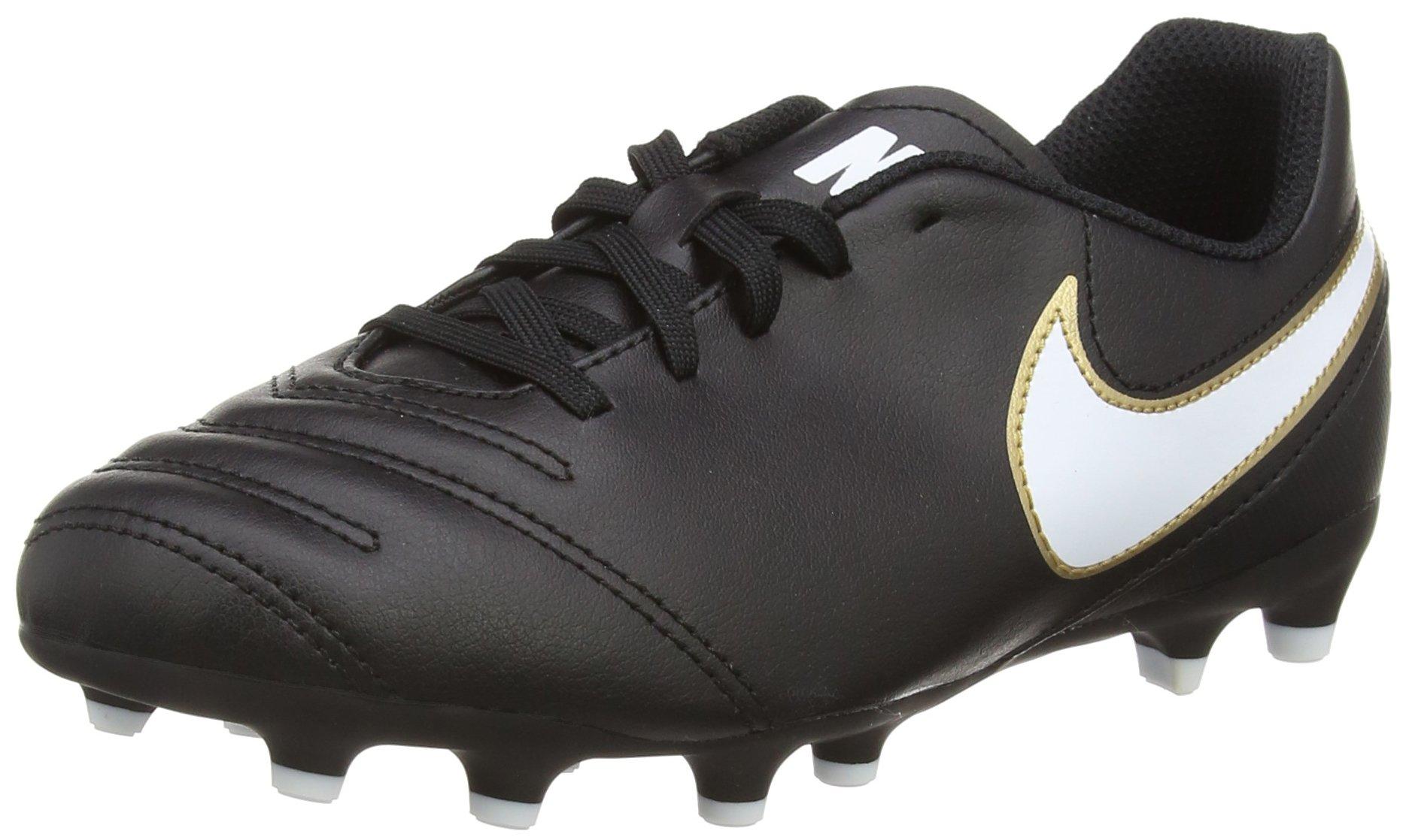 Nike Kids Tiempo Rio III FG-Black/white-size 3.5