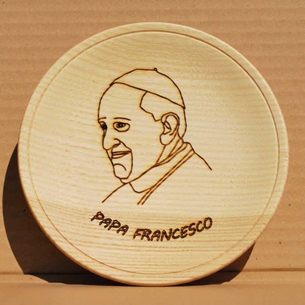 Papa Francesco piatto 18cm Artigianato Valdostano