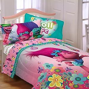 DreamWorks Trolls Reversible Full Comforter, Sheets + Bonus SHAM J (6 Piece Bed in A Bag) + Homemade Wax MELT