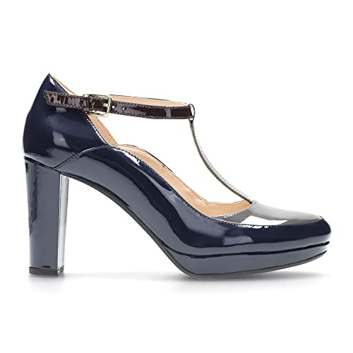 2a83488a7 Clarks Kendra Daisy women's T-bar pumps Blue Size: 6.5 UK: Amazon.co ...