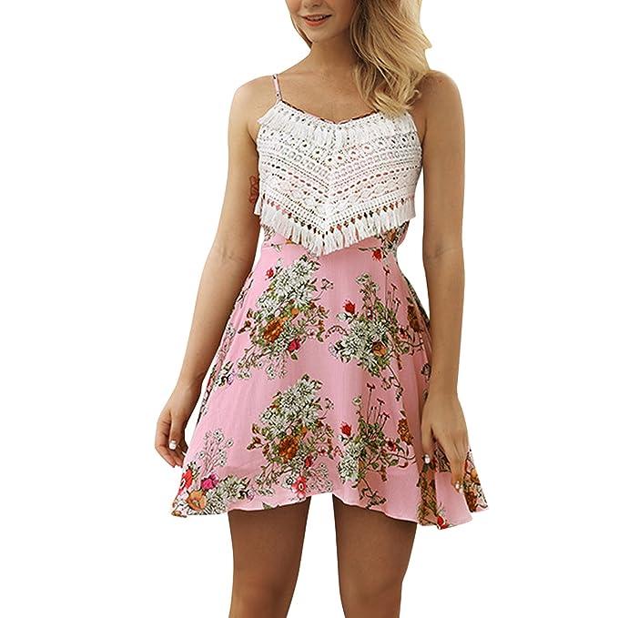 6298788ec88 Jolisson Women Tank Swing Dress A-Line Casual Lace Strappy Sundress  Beachwear Skater Mini Skirt  Amazon.co.uk  Clothing