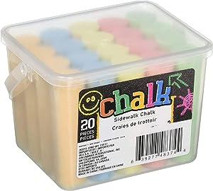 JGT Chalk Sidewalk Chalk w/Bucket Assorted Colors for Draw Paint Art Outdoor Activity Playground Fun for Kids Indoor Blackboard Chalkboard (20 Pieces Per Bucket)