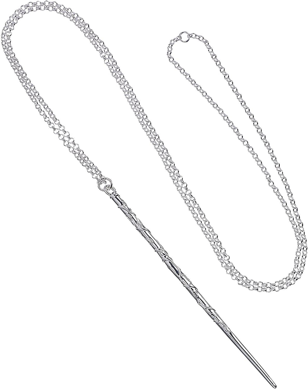 New Official Harry Potter Silver Plated Wand Necklace in Ollivander/'s Gift Box