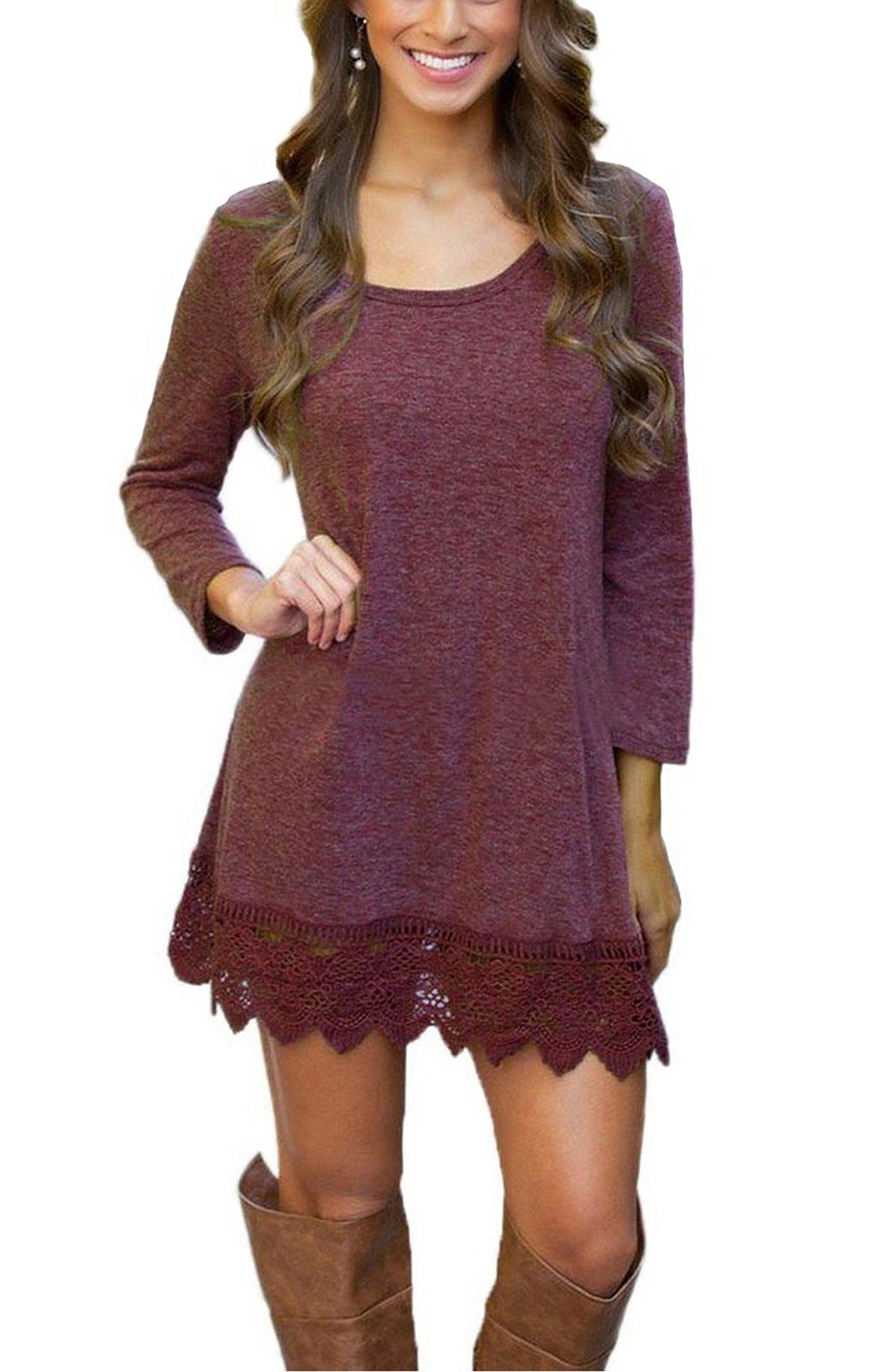 Our Precious Women's Casual Long Sleeve Lace Hem A-Line Shirt Dress Tunic Tops Burgundy M