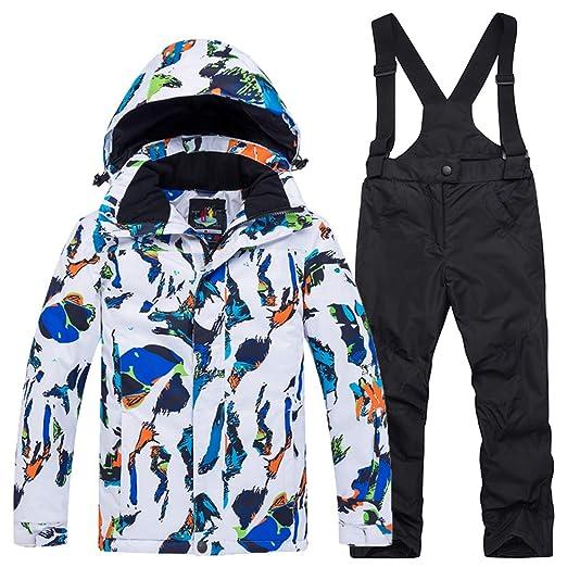 6aa142b35 Amazon.com  Boy Winter Coat Colorful Printed 2-Pieces Outdoor Ski ...