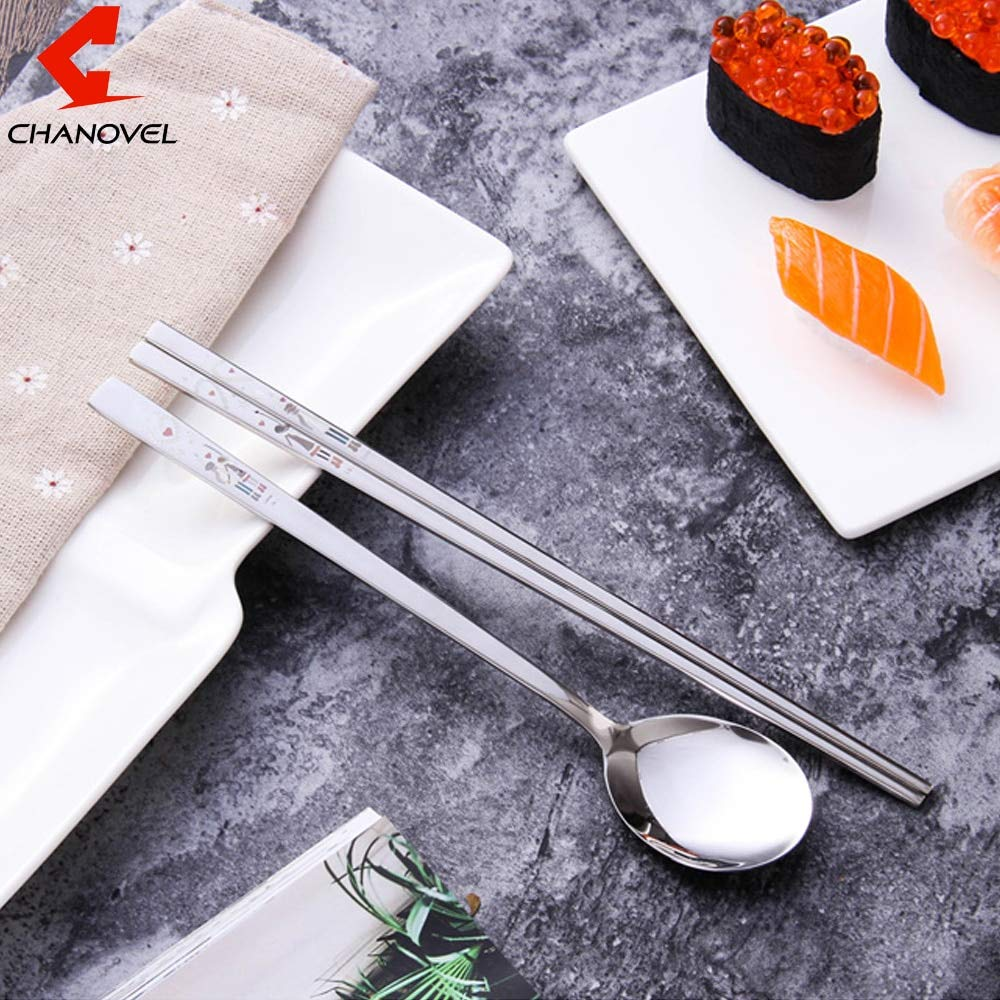 Uniqus CHANOVEL 2 PCS/Set 304 Stainless Steel Set Korean Chop Sticks and ladle Scoop Table Ware Sets Kids Dinnerware Set with Gift Bag