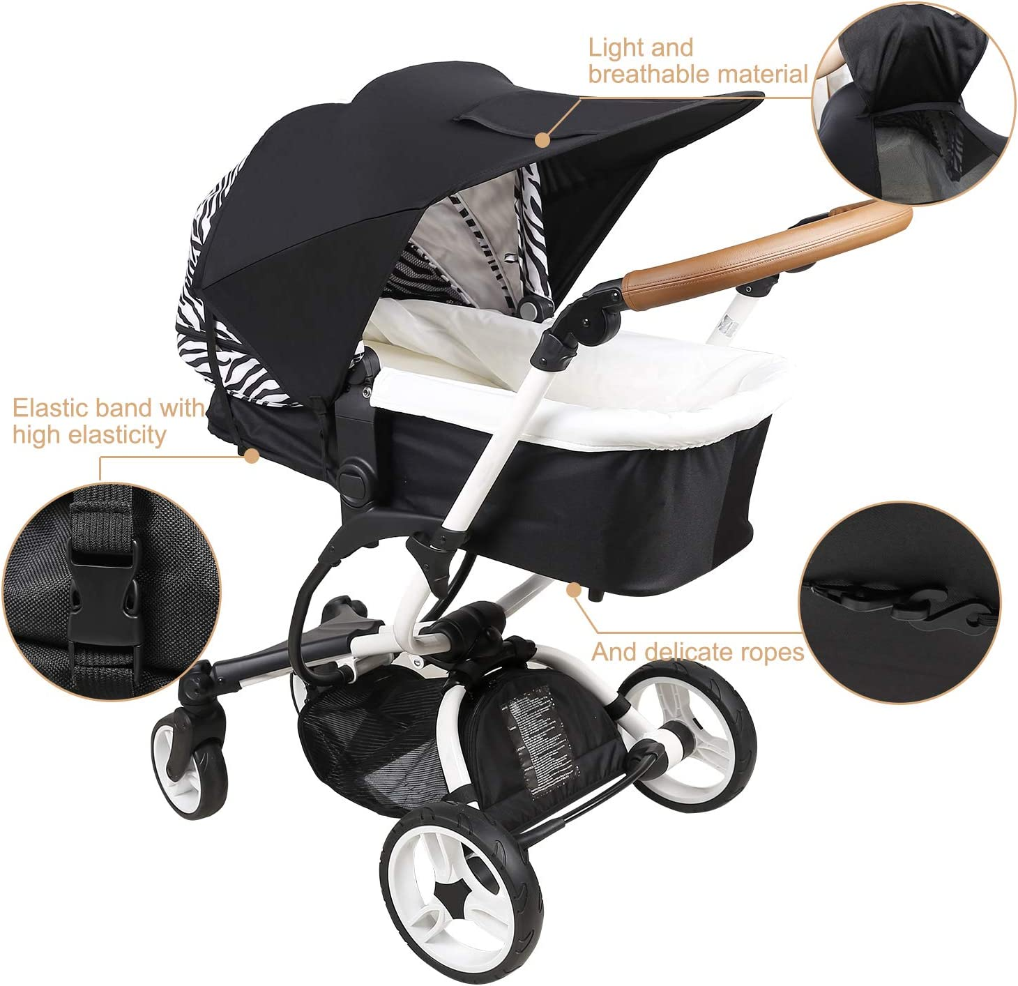 Sunshade for Stroller Sun Cover with Viewing Window Universal Sun Shade for Pushchair Buggy Carrycots ZJ Right Pram Cover Black Sun Cover for Pushchair Canopy with UV Protection 50