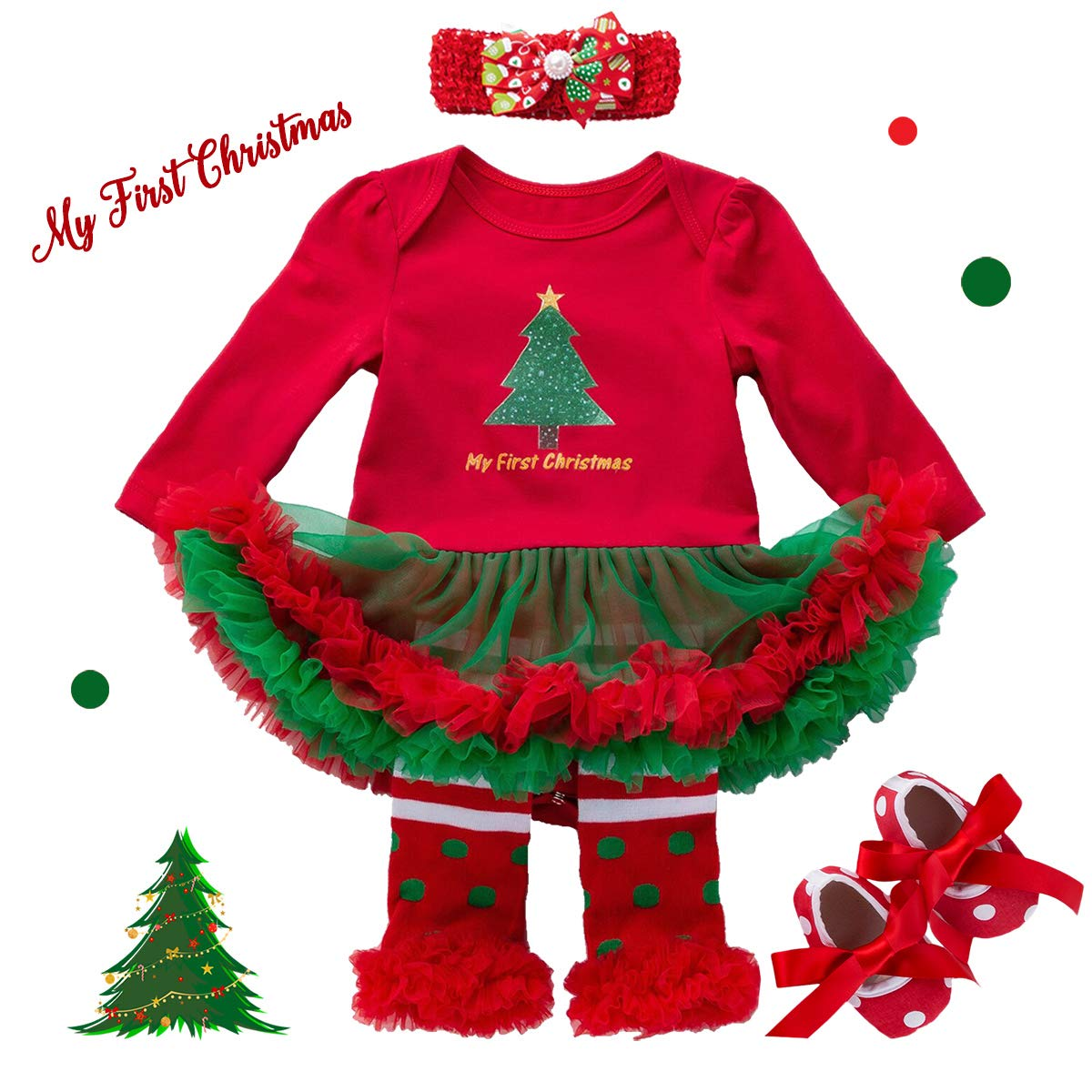 Christmas Outfits Baby Girls - 4PCS First Xmas Romper Tutu Dress Set Gifts