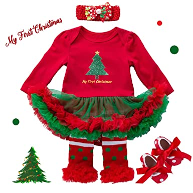 my first christmas outfits for baby girls 4 pieces infant romper set toddler tutu dress