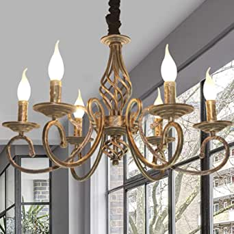 Ganeed Rustic 6 Light Chandeliers French Country Vintage Chandelier Metal In Antique Bronze Pendant Chandelier Pendant Light Fixture For Island Kitchen Farmhouse Dining Room Living Room