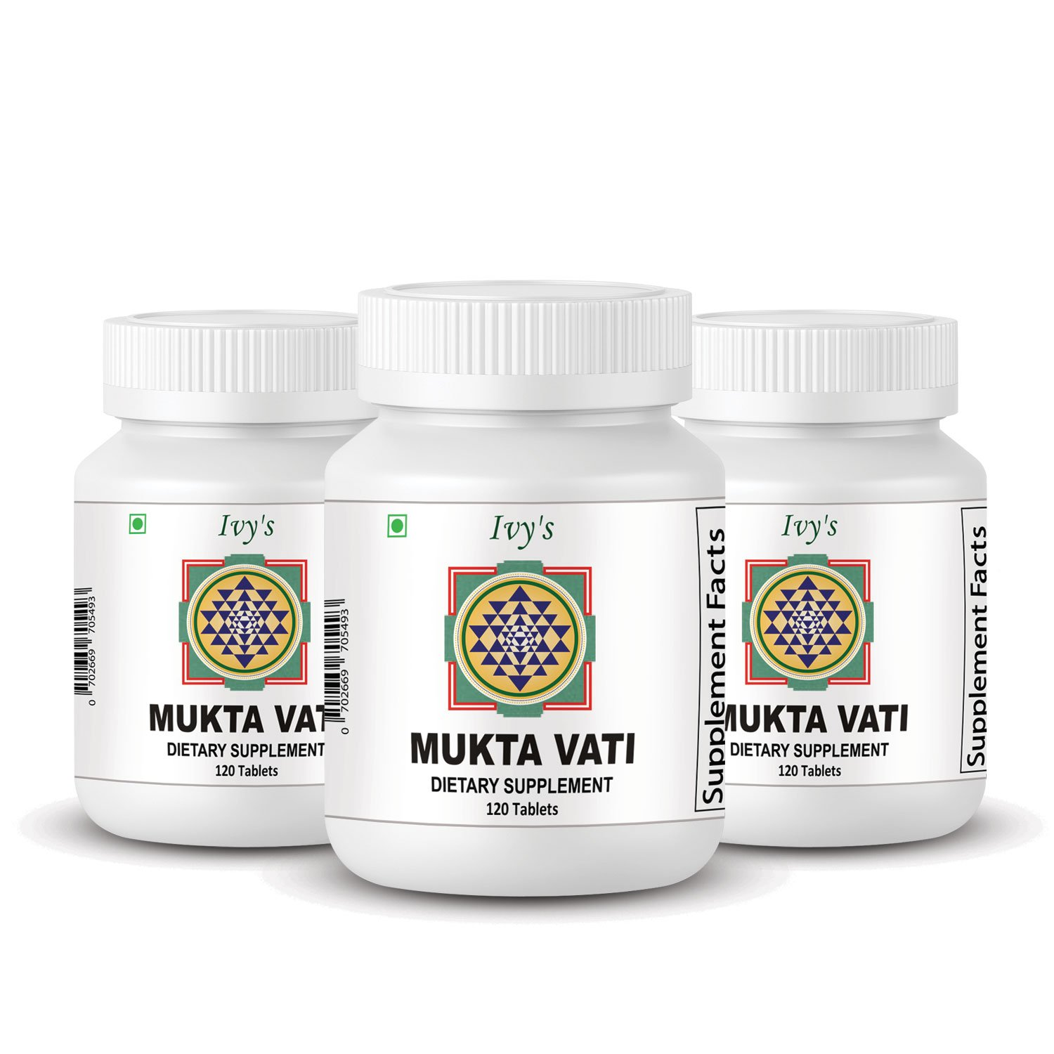 Mukta Vati 120 Herbal Tablet, 3 Packs of 120 Tab Each Ivy's Muktavati