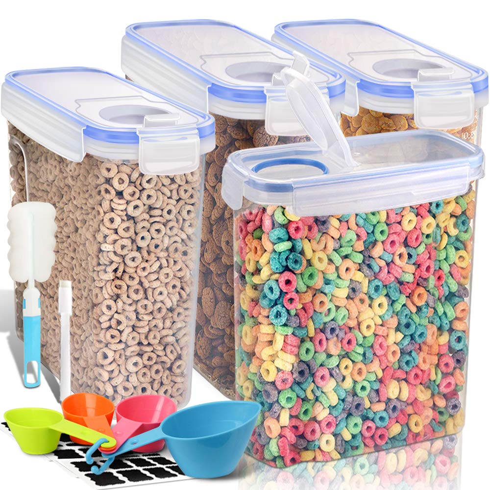 EXTRA LARGE Cereal Container, EAGMAK Airtight Dry Food Storage Containers, BPA Free Kitchen Pantry Cereal Storage Container Great for Flour, Snacks, Nuts & More (Set of 4, 213oz & 135oz) by EAGMAK