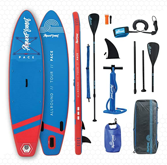 aquaplanet 10ft 6 x 15cm PACE Stand Up Paddleboard – Incl SUP, Hand Air Pump w Pressure Gauge, Adjustable Aluminum Floating Paddle, Repair Kit, Rucksack, Coiled Leash 4 Kayak Seat Ring Fittings