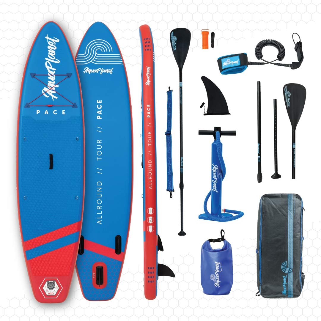 "aquaplanet 10ft 6"" x 15cm PACE Stand Up Paddleboard - Incl: SUP, Hand Air Pump w/Pressure Gauge, Adjustable Aluminum Floating Paddle, Repair Kit, Rucksack, Coiled Leash & 4 Kayak Seat Ring Fittings"