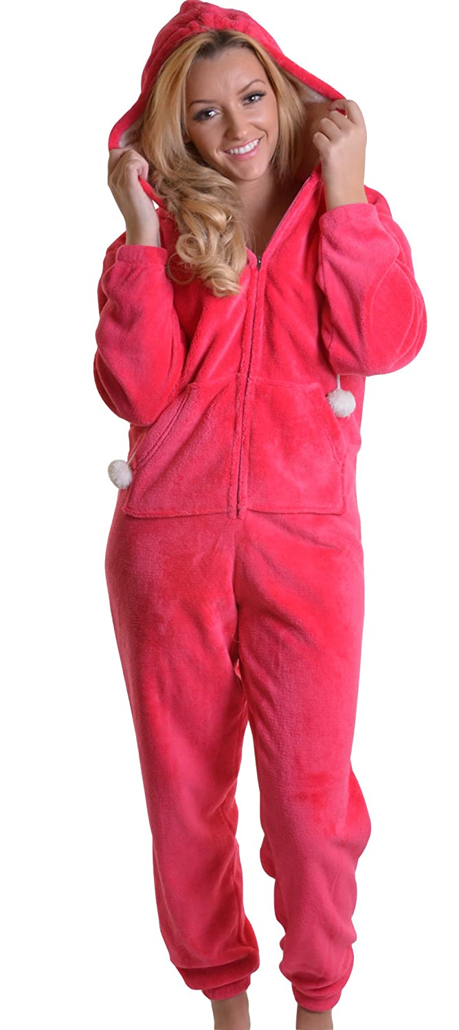 Warm, Soft and Snuggly Velour All in One, Onesie with Pockets, Furry Hood and Pom Pom Ties, Fuchsia, Small