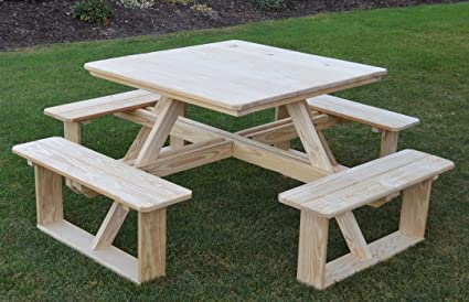 Amazoncom AL Furniture AmishMade Square PressureTreated - Square picnic table with benches