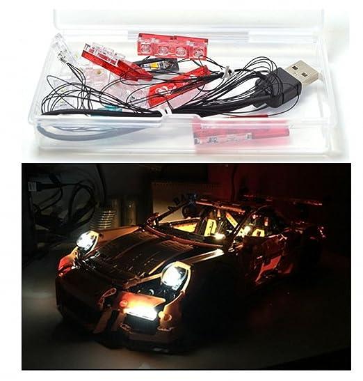 LED Light Up Kit Para lego Porsche 911 GT3 RS Modelos 42056 y 20001 kit de luz lego Led luces de lego luces lego Bloques de construcción Compatible con ...
