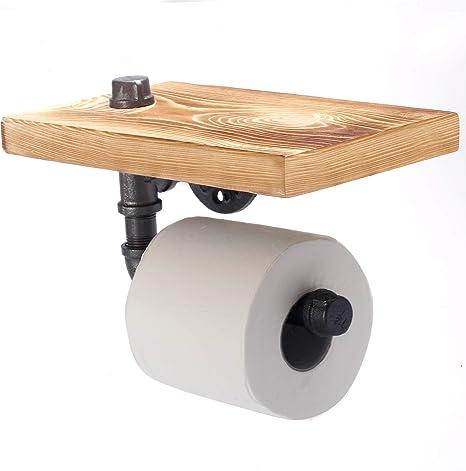 en M/étal Wankd Porte-rouleau de papier toilette r/étro industriel /à fixation murale Vis et Chevilles fournies porte-serviette peignoir accessoires de salle de bain