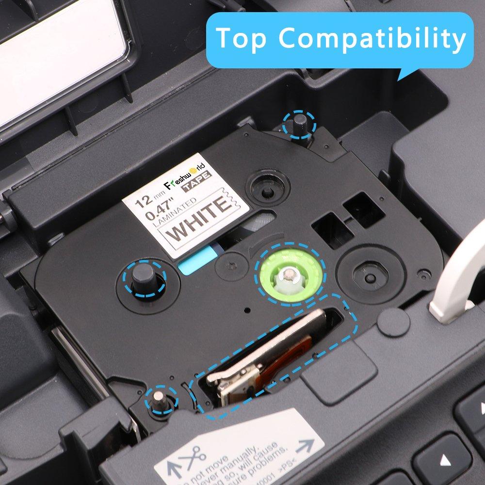 4 Rubans Cassettes pour Brother TZe-231-335-MQG35-MQP35 12mm x 8m Compatible pour Brother P-Touch Etiqueteuse 1000W 1010 1090 1830VP 2030VP 2100VP 2430PC 2470 2730VP 7100VP 7600VP H100R H300 D200VP