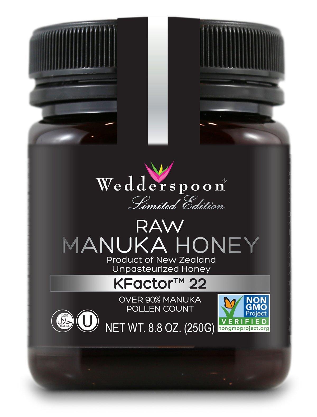 Wedderspoon Raw Premium Kfactor 22 Manuka Honey, 8.8 Ounce