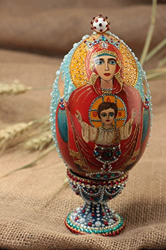Handmade Beaded Wooden Egg with Icon Inexhaustible Cup Painted with Acrylics