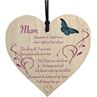 Funnytoday365 Mum I Will Always Love You Wooden Hanging Heart Mothers Day Present Plaque Gift