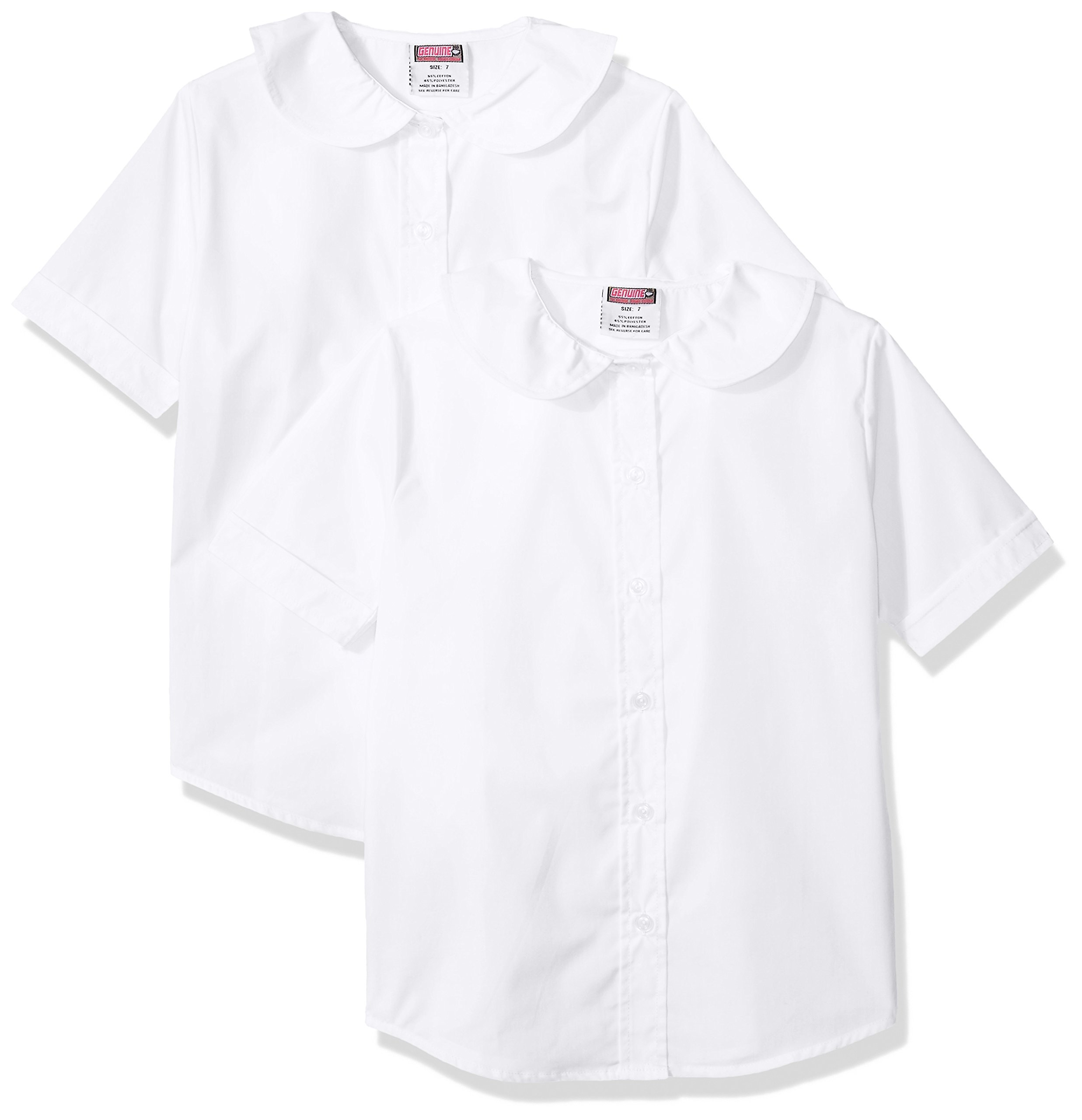 Genuine Girls' 2 Pack Blouse (More Styles Available), Basic White, 8
