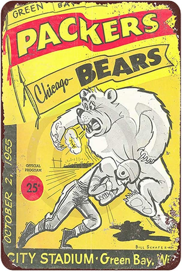 Chicago Bears VS Green Bay Packers Baseball Sports Vintage Decor Sign Antique Metal Signs Man Cave Decor Vintage Room Decor Signs Garage Retro Signs Bar Funny Sign Size: 11.8 x 7.8 Inches