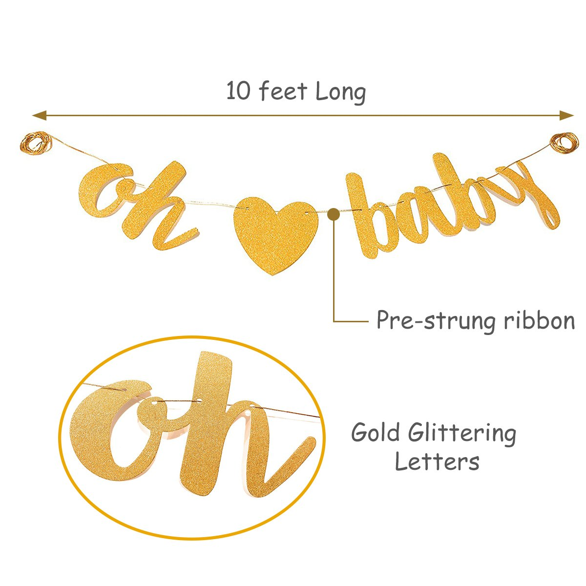 Baby Shower Party Decorations Kit Unisex, Girls and Boys | Oh Baby Banner Neutral Decor | 12 Pcs Balloon Set | Glitter Unisex Pregnancy Announcement Gender Reveal Party | 50 Pcs Premium Baby Shower Emoji Game Cards by Newborn Party (Image #9)