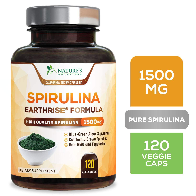 Spirulina Capsules Natural Blue Green Algae Pills 1500mg - High Quality Non-GMO California Blue Spirulina Powder Supplement, Vegan Superfood Rich in Minerals & Vitamins, Non-Irradiated - 120 Capsules