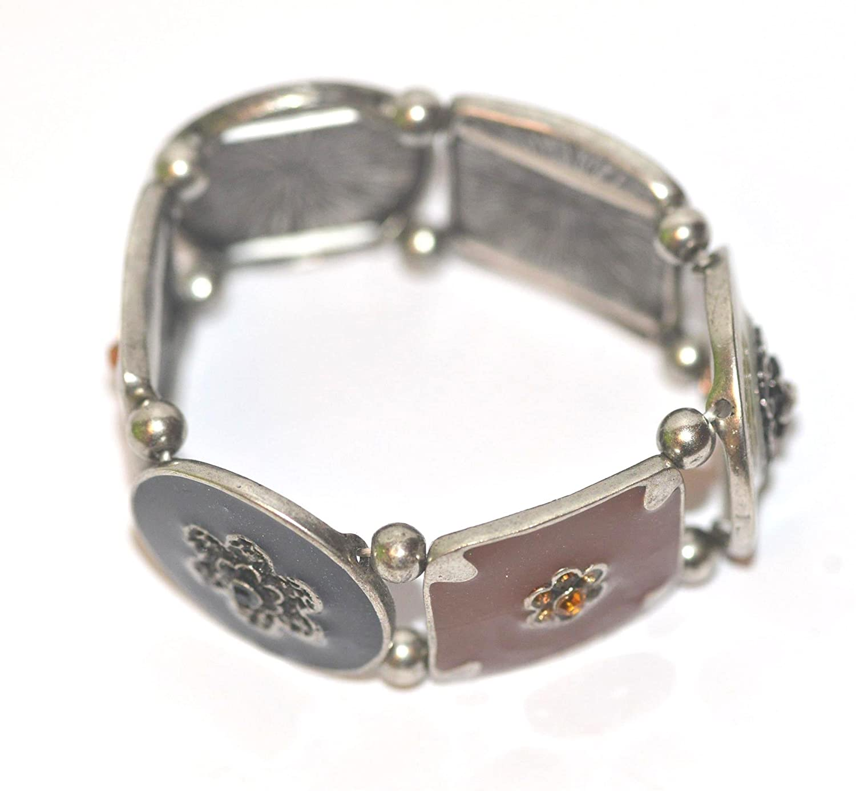 Pewter Enamel Flower with Rhinestones Stretch Bracelet Bangle