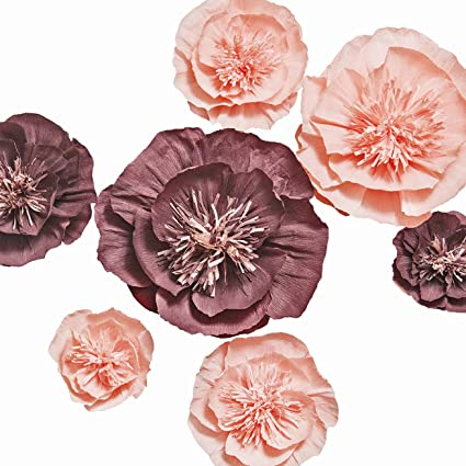 Ling S Moment Large Crepe Paper Flowers Set Of 7 Handmade Paper Flowers Decorations For Wall Wedding Backdrop Baby Nursery Bridal Shower Centerpiece