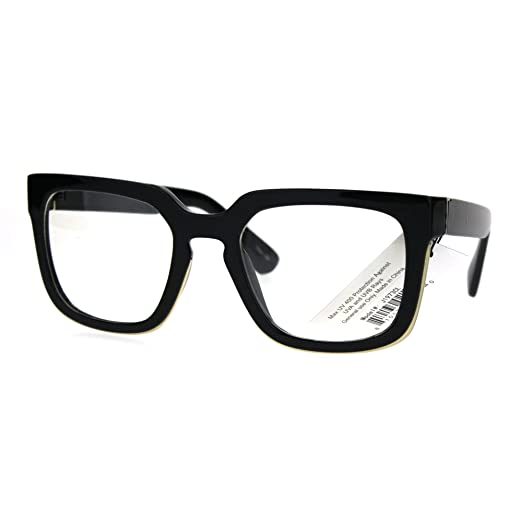 Amazon.com: Mens Mod Luxury Squared Horned Plastic Eye Glasses Frame ...
