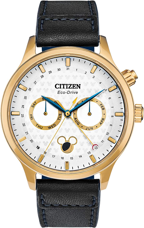 Citizen Men's Disney Stainless Steel Quartz Watch with Leather Strap, Black, 22 (Model: AP1058-11W)