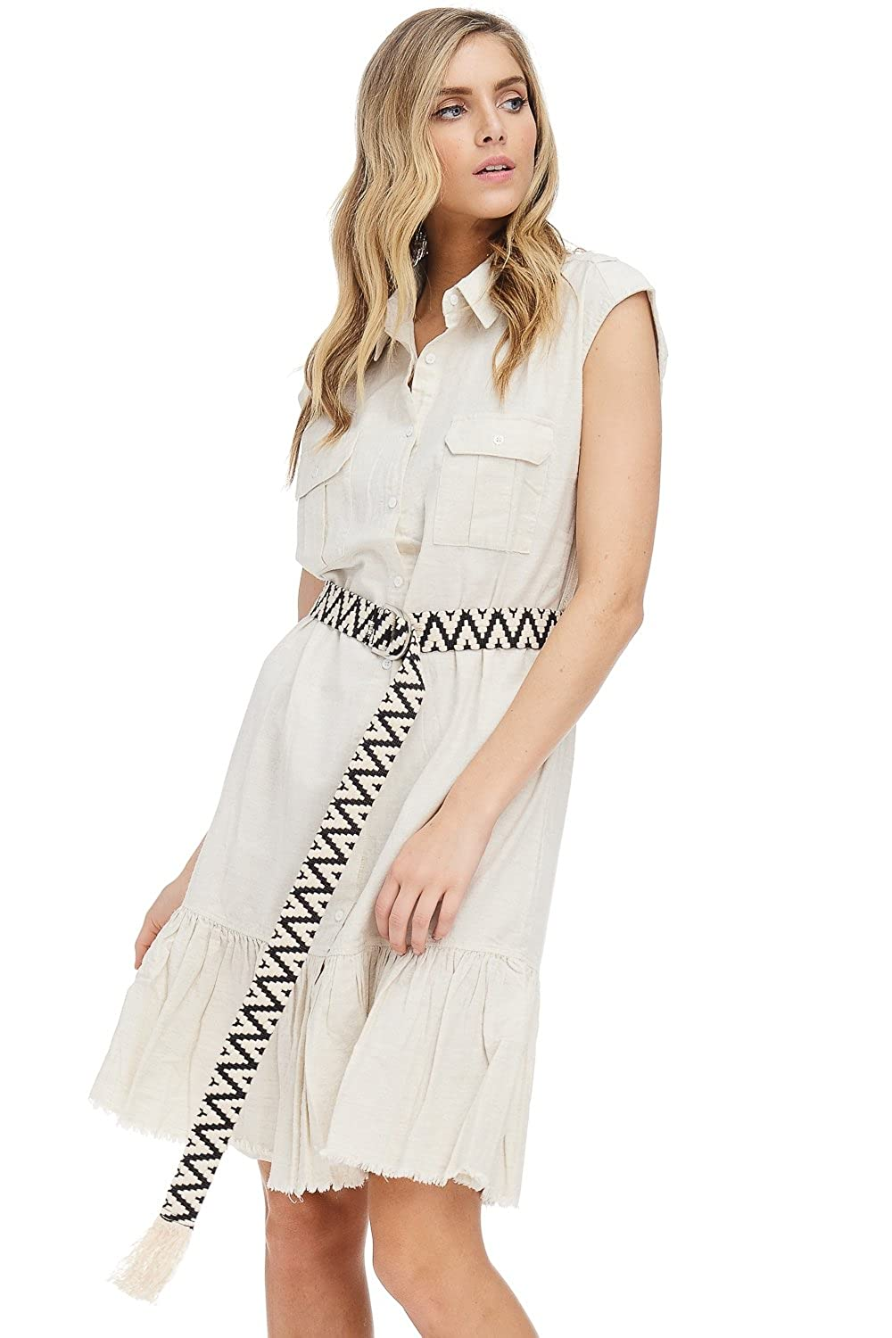 Ad Womens Button Down Cotton Linen Midi Shirt Dress Wpockets At
