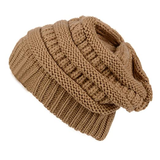 Chic Slouch Color Knit Slouchy Beanie Oversized Thick Cap Hat Camel ... 9d05f463d5e