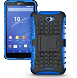 DMG Rugged Hard Cover Kickstand Armor Back Case Cover for Sony Xperia E4 (Blue)